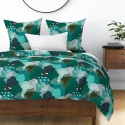 Emerald Forest Birds Eye View Blue Green Above Sateen Duvet Cover By Roostery