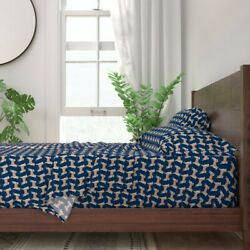 Shiba Inu Doge Navy Blue Dog Pet Puppy 100 Cotton Sateen Sheet Set By Roostery