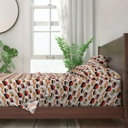 Cat Kitty Kawaii Food Animals Persian 100 Cotton Sateen Sheet Set By Roostery