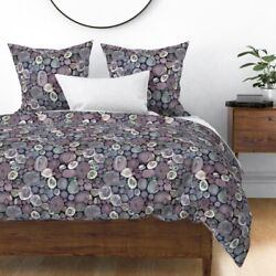 Watercolor Neutral Stone Rocks Scatter Geodes And Sateen Duvet Cover By Roostery