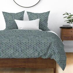 Leaf Tile Pseudo Grout Curve Moroccan Chain Link Sateen Duvet Cover By Roostery