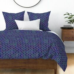 Leaf Tile Texture Grout Curve Moroccan Wavy Sateen Duvet Cover By Roostery