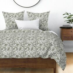 Grey Dots Polka Polka-dot Dotted Yellow Sateen Duvet Cover By Roostery