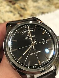 Breitling Transocean Day Date Black Dial Men's 43mm Watch, Box, Papers,one Owner