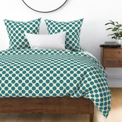Blue Polkadot Geometric Dots Dot Dotted Modern Sateen Duvet Cover By Roostery