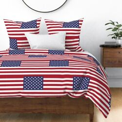 American Flag Stars State Flags Usa United States Sateen Duvet Cover By Roostery