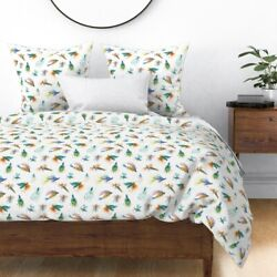 Watercolor Fishing Flies Nautical Lure Fly Summer Sateen Duvet Cover By Roostery