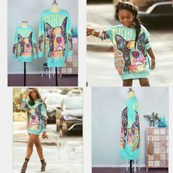 Mother Daughter Dresses Family Matching Clothes Women Kids Baby Girls Dog Cute GBP 15.29