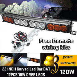 22'' 120w Curved Cree Led Light Bar Spot Flood Combo Offroad Suv Ute Atv 4wd 24
