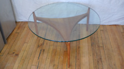 Mid-century Danish Coffee Table With Teak Base And Round Glass Top