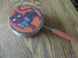 1920's German Litho Paper Antique Halloween Noisemaker Cat With Wooden Whistle
