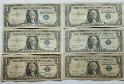 1957 Blue Seal 1 One Dollar Silver Certificate Bill-old Paper Money-lot Of 6