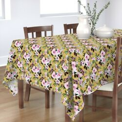 Tablecloth Roses On Mustard Flowers Floral Botanical Flower Yellow Cotton Sateen