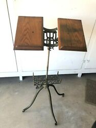 Antique Victorian Cast Iron And Oak Adjustable Library Dictionary Book Stand