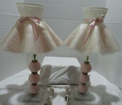 Vintage Dresser Lamps W/shades, Marble Base, Pink Ball Design, Set Of Two