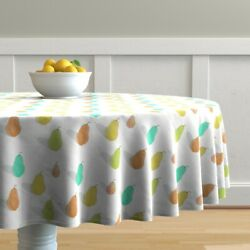 Round Tablecloth Watercolor Pears Fruits Kitchen Decor Autumn Cotton Sateen