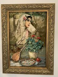 Authentic Framed Wall Hanging Rug Hand Made Silk And Wool