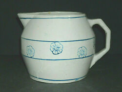 Early 1905 - 25 Blue And White Stenciled Floral Pitcher Stoneware