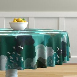 Round Tablecloth Emerald Forest Birds Eye View Blue Green Above Cotton Sateen