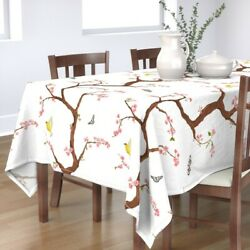 Tablecloth Chinoiserie Cherry Blossoms Butterfly Floral Pink Cotton Sateen