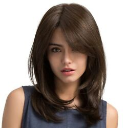 50xwomen Hair Wigs Ladies Party Daily Natural Wave Dark Brown Side Parting