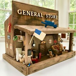66+ Itemvintagehandcrafted General Store Wooden Doll House Train Set Miniature