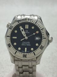 Omega Seamaster Professional 300m Menand039s Wristwatch Navy Stainless Steel Silver