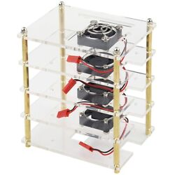 50xfor Raspberry Pi 4 Layers Acrylic Case Holder Box + Cooling Fan With Metal