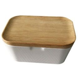 50xbutter Dish Butter Box Container With Wooden Cover Home Tool Useful Home