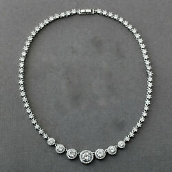 Halo Circles Cubic Zirconia Bridal Beautiful Necklace For Women's In 925 Silver