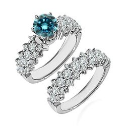 1.5 Carat Real Blue Diamond Cluster Solitaire Wedding Ring Band 14k White Gold