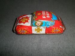 Lucky Toy Litho Stp Fire Dept Friction Volkswagen Japanese Tin Car