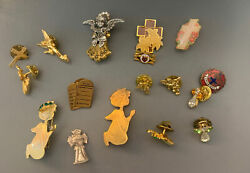 Lot Of 17 Angel Cross Pins Lapel Tie Tack Pin Back Gold Tone Religious Jewelry