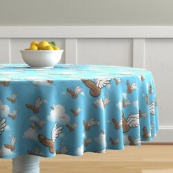 Round Tablecloth Penis Winged Humor Good Luck Fascinii Guy Cotton Sateen