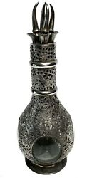 Chinese Silver Overlay Four Compartment Liquor Decanter C1920