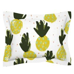 July2016pineapples Green Yellow White Red Fruit Pillow Sham By Roostery
