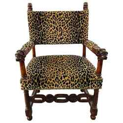 Late 19th Century Victorian Gothic Revival Leopard Upholstery Arm Or Side Chair