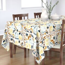 Tablecloth Navy Watercolor Mustard Fall Floral Field Modern Rustic Cotton Sateen