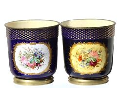 Pair Of Sevres- Type Ormolu Mounted Pictorial Cache-pots 19th Century