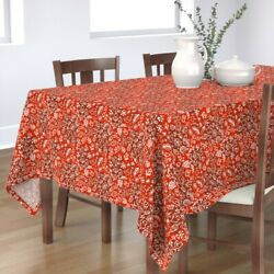 Tablecloth Red And White Christmas Xmas Holiday Snowflake Vintage Cotton Sateen