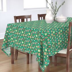 Tablecloth Vintage Christmas Ornaments Retro Holiday Star Cotton Sateen