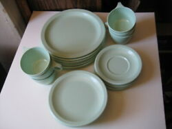 Texas Ware Green Set Six Each 9 Dinner Plates, Bread And Butter, Cups Saucers