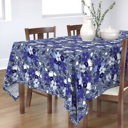 Tablecloth Chinoiserie Chinese Ceramics Flowers Delft Blue Delft Cotton Sateen