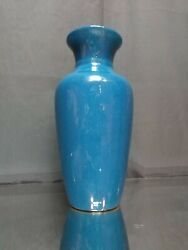 Antique 18th/19th C. Monochrome Robinand039s Egg Chinese Vase Lamped 10 Blue