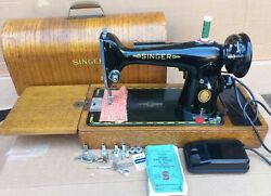 1953 Vintage Singer 201k Electric Sewing Machine With Instruction Manual