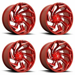 4x Fuel 22x12 D754 Reaction Wheels Candy Red Milled 8x180 -44mm Offset 4.77bs