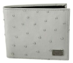 Dolce And Gabbana Wallet White Ostrich Leather Bifold Mens Card Bill Slot Rrp 900