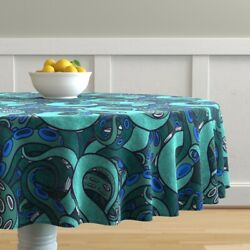 Round Tablecloth Tentacle Arms Suckers Sea Monster Ocean Cotton Sateen