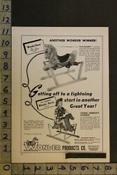 1954 Toy Ad Cowgirl Western Wonder Rocking Hobby Horse Spring Collierville Te35