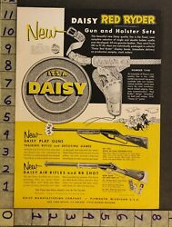 1954 Toy Ad Western Cowboy Daisy Red Ryder Rifle Pistol Gun Holster Plymouthth65